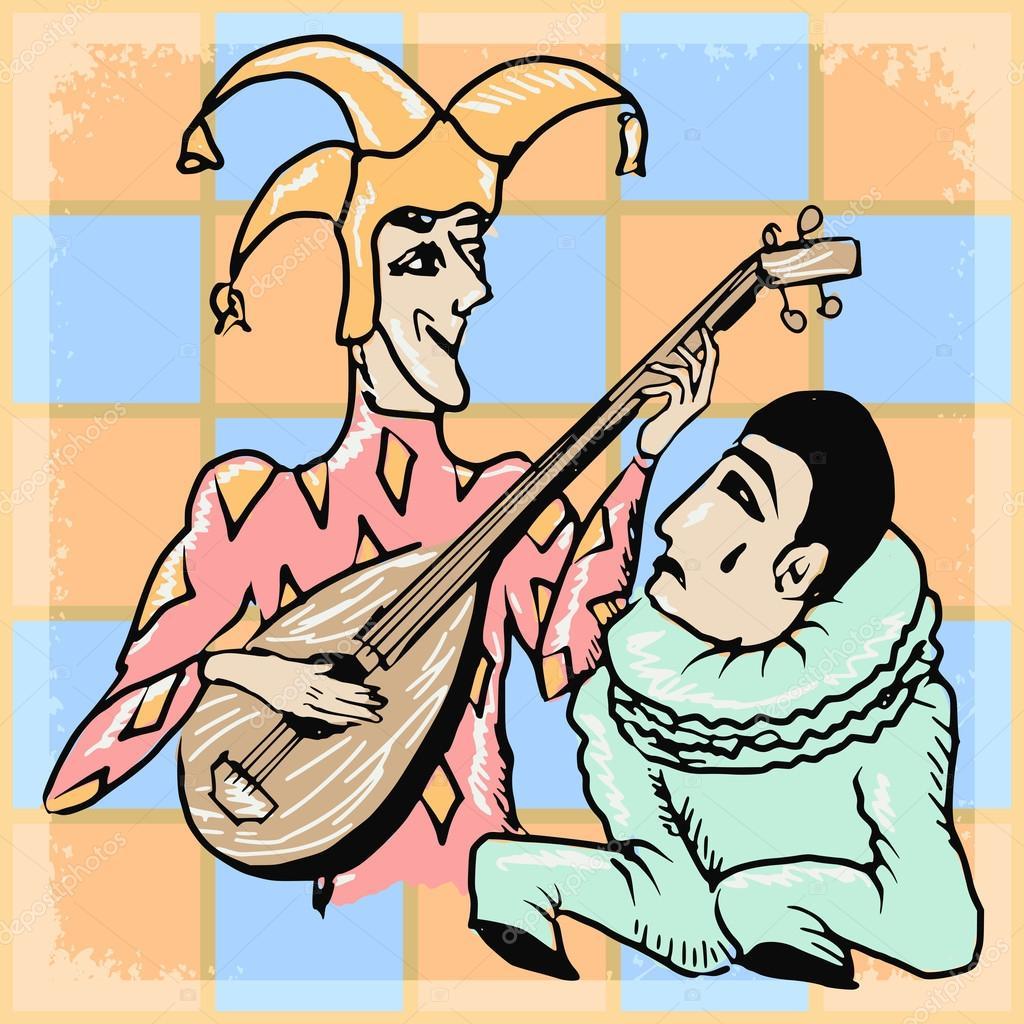 Vintage fond avec Arlequin et Pierrot — Image vectorielle Perysty ...