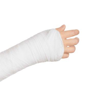 plastered hand holding something on a white background