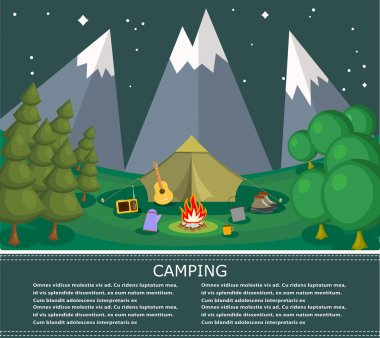 Vector flat banner on the theme of camping with a bonfire. Campi