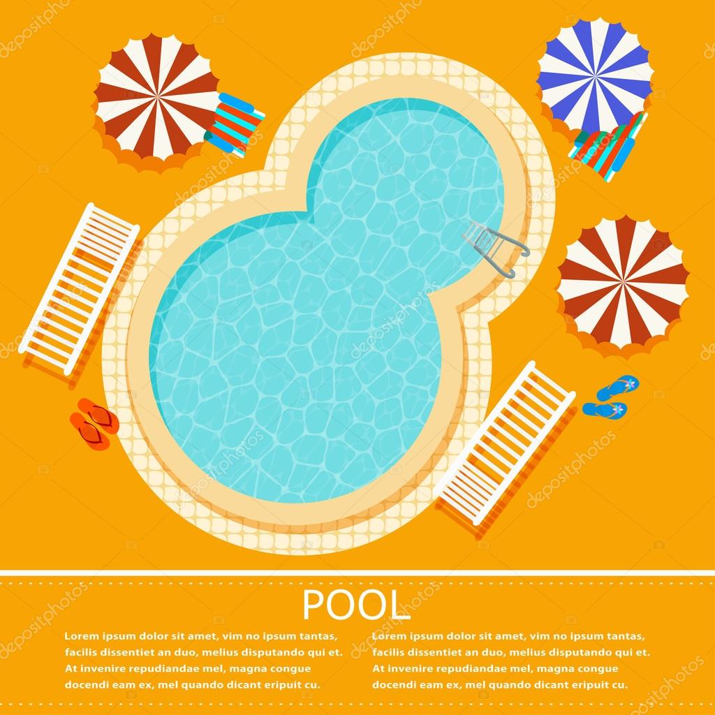 Yellow background with an oval swimming pool. Illustration pool