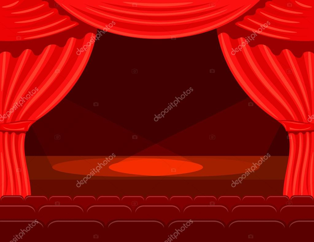 Cartoon Theater With Spotlights Beams Curtain Spot Vetores De Stock