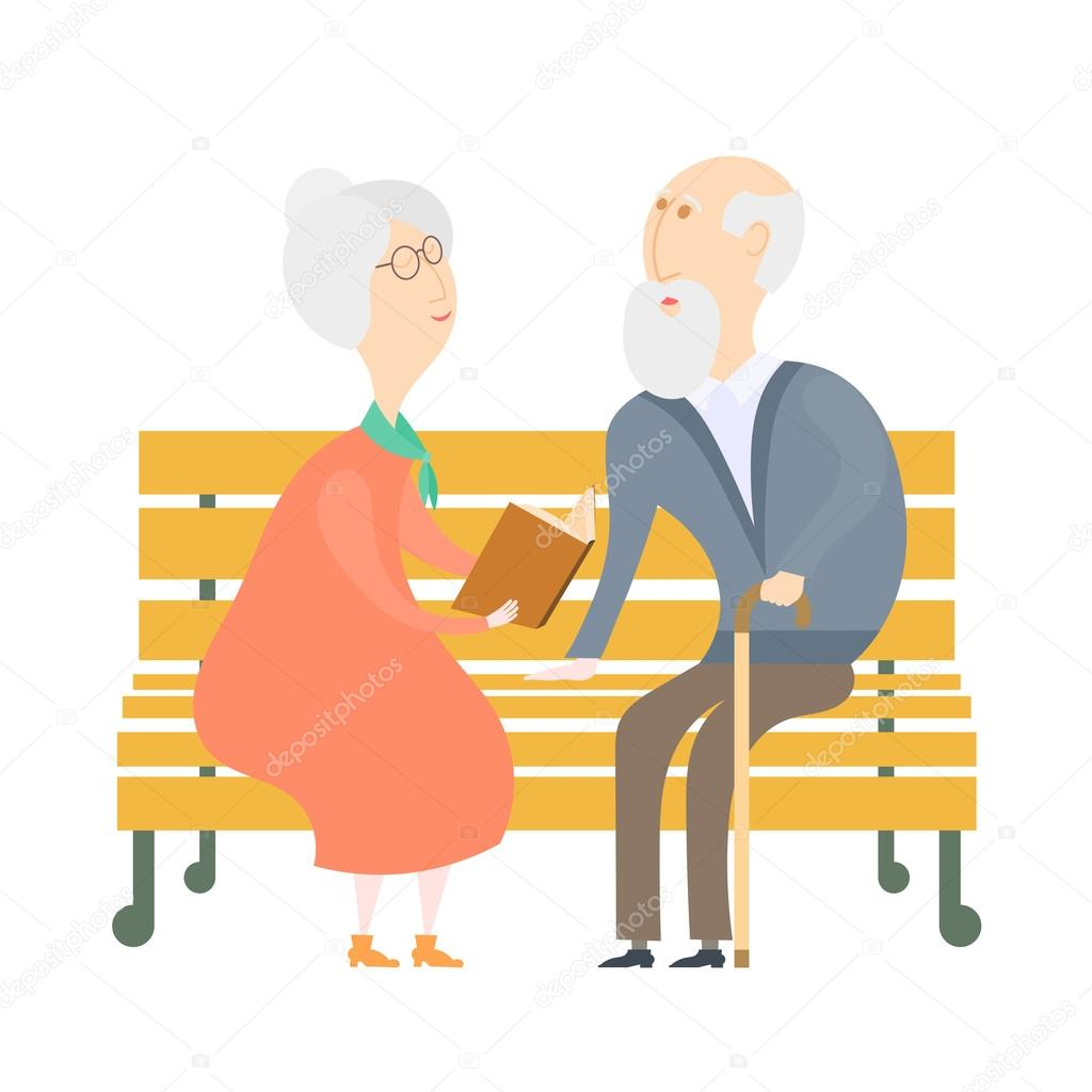 The old man and the old woman on a bench. The old lady old man r