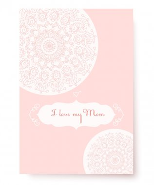 The pink card on a white background. Congratulations on Mother's