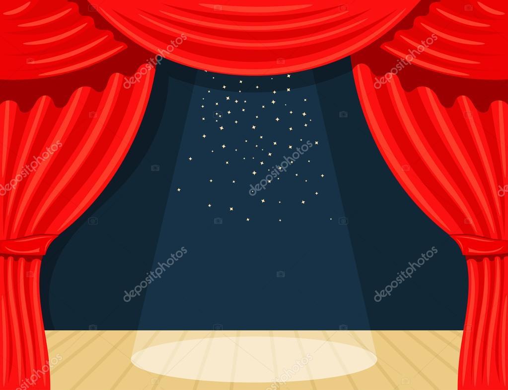 theater gordijn met spotlights beam en sterren stockvector
