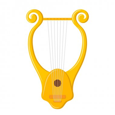 Vector image of vintage Lyre on a white background. Ancient Gree