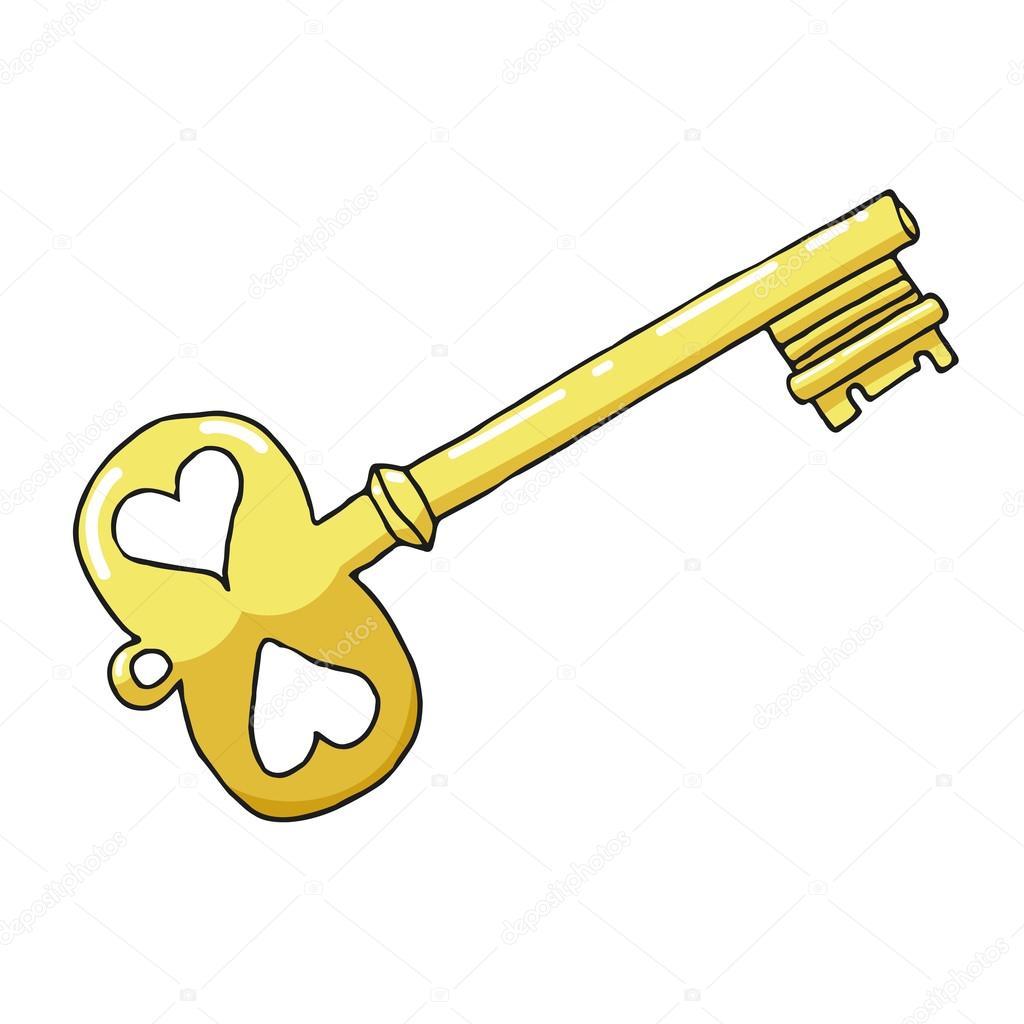 croquis dessin d une cl d or sur fond blanc symbole de l amour image vectorielle lapotnik. Black Bedroom Furniture Sets. Home Design Ideas