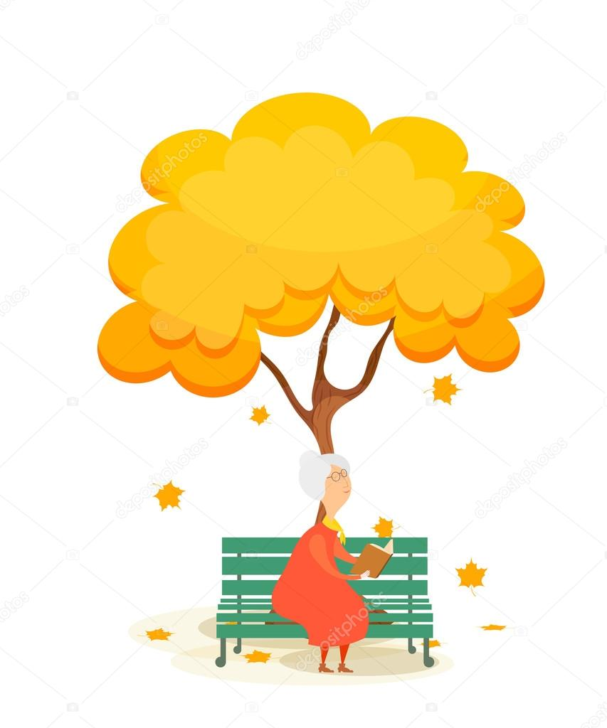 The old woman on the bench. Elderly woman on a park bench, readi
