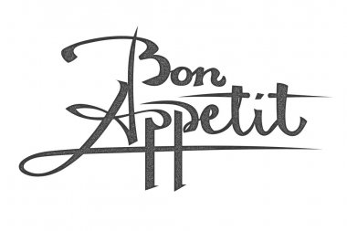 Lettering. The phrase bon appetite on a white background. The in