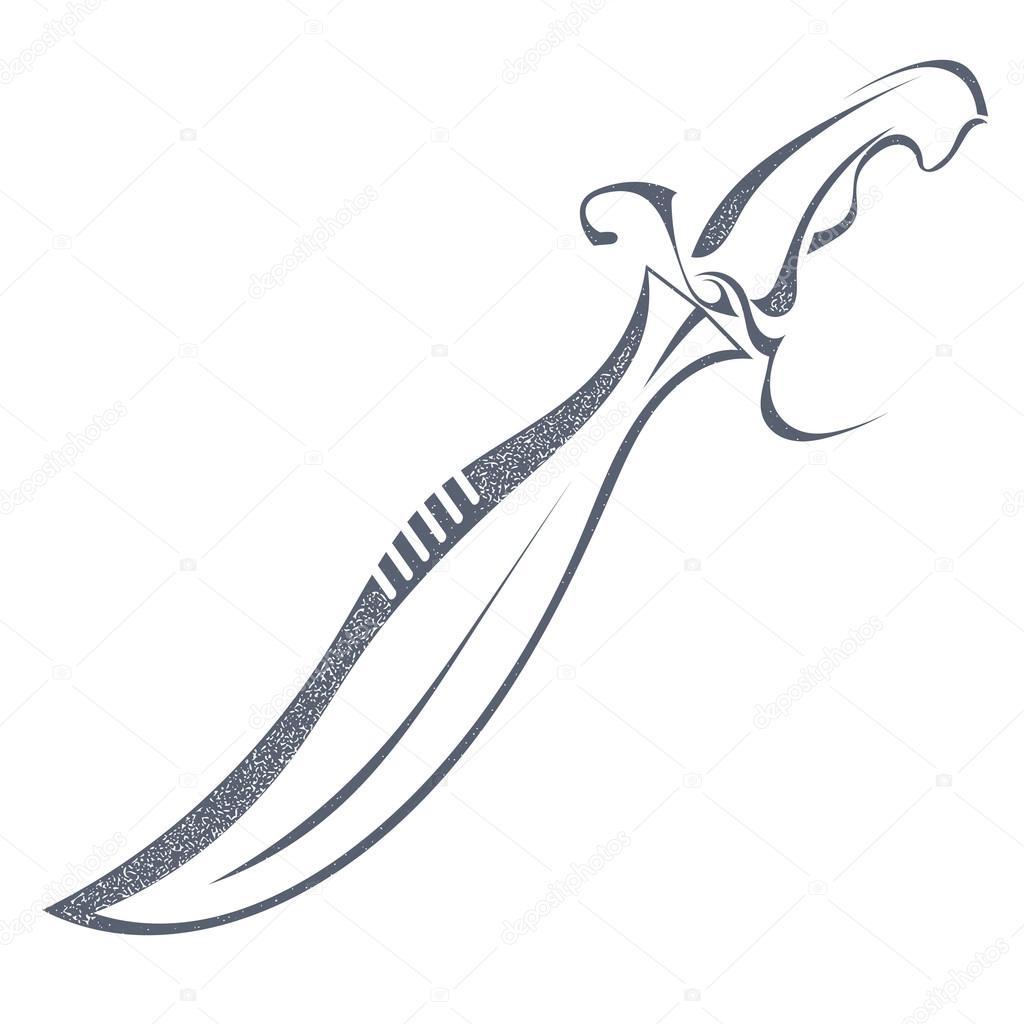 Dibujos Espadas Espada De Grunge Dibujo Negro Aislado Sobre Fondo