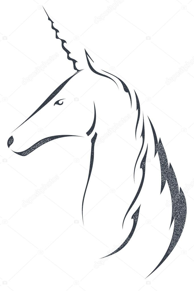 The black silhouette of a unicorn's head, isolated on white back