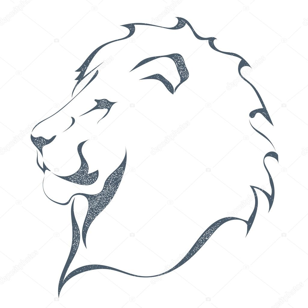 Sketch black silhouette of a lion's head in profile isolated on