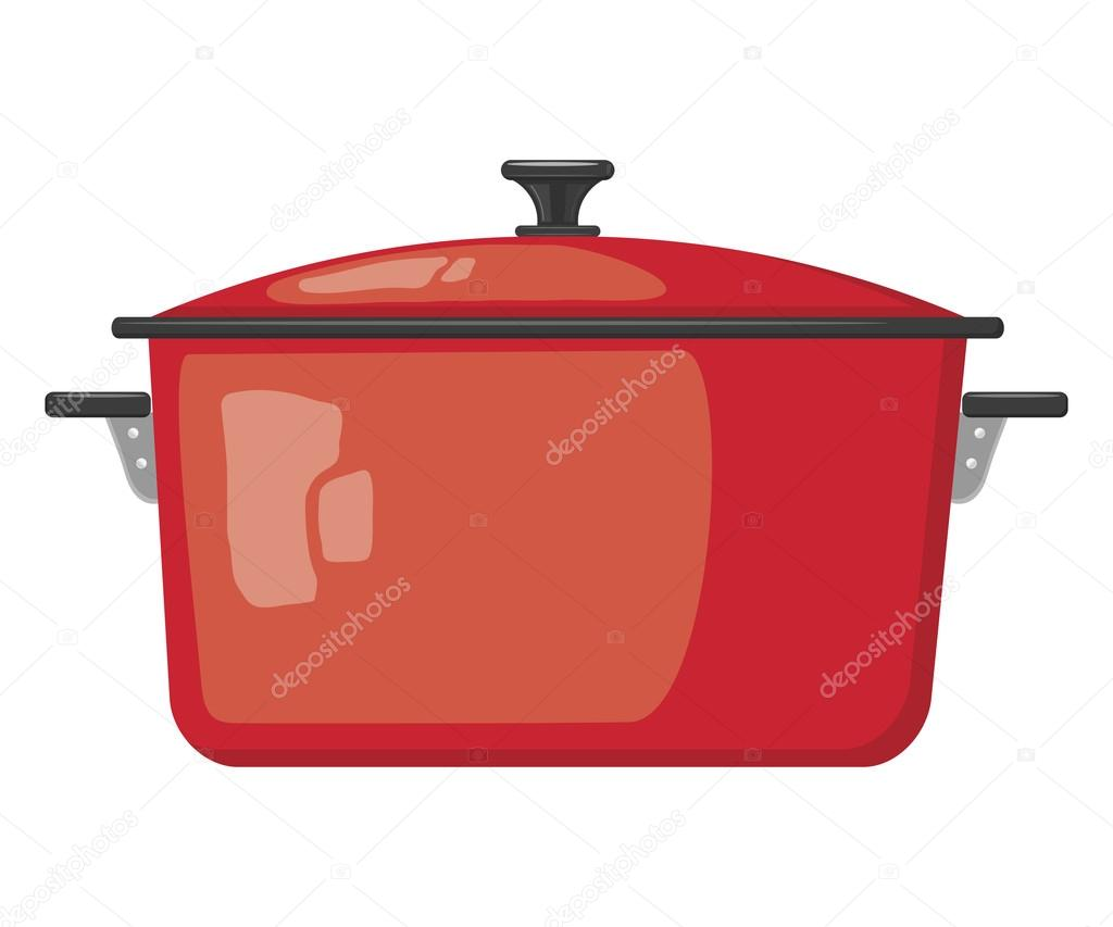 만화 빨간 냄비 뚜껑에 흰색 배경입니다. 주방 용품 — 스톡 벡터 ...