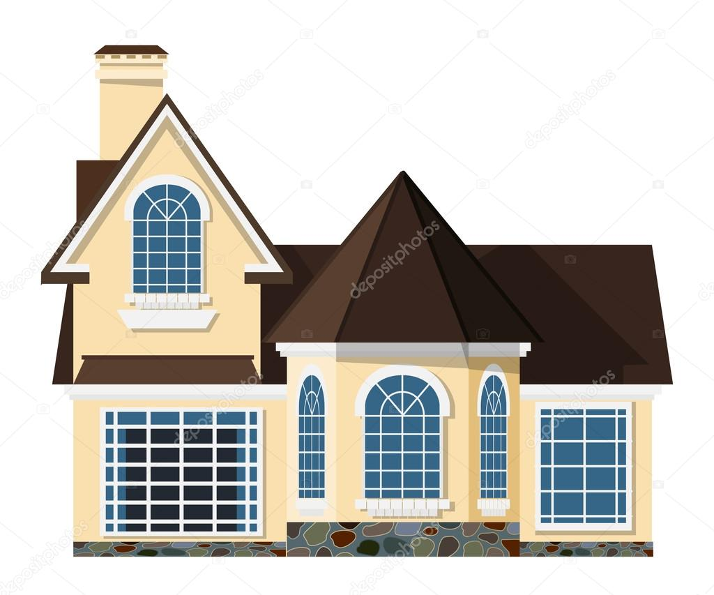 flat style small two storey house with beautiful arched windows