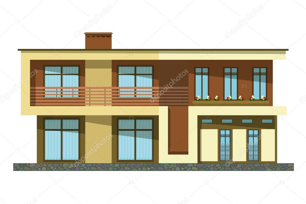 Estilo plano edificio de dibujos animados casa dos for Casa moderna vector