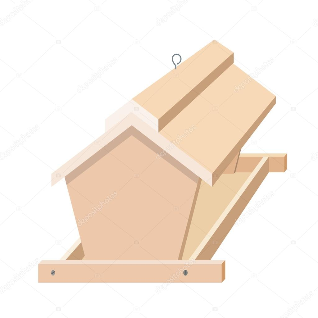 Wooden bird feeder with a roof. Illustration of birds and nature