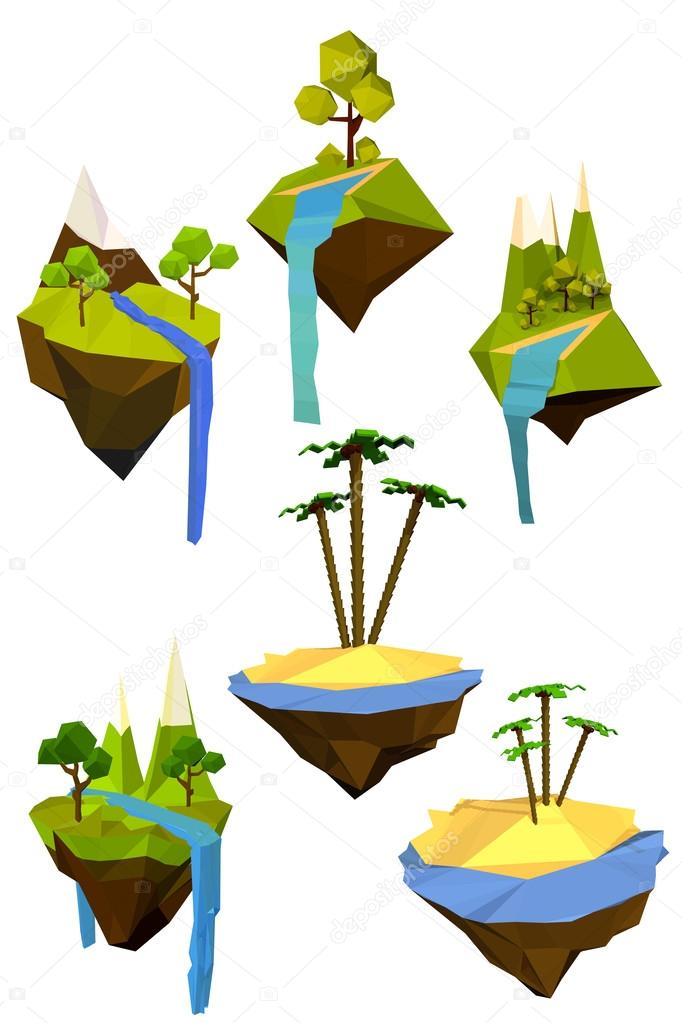 Vector set of colored flying islands with trees, mountains and w