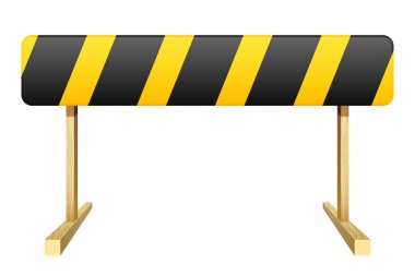 Barrier isolated on white background. Black and yellow stripe. V