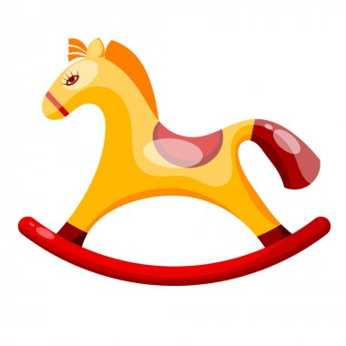 Toy rocking horse isolated on white background. Vector illustrat