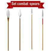 Photo Set combat spears isolated on a white background. Vector illustr