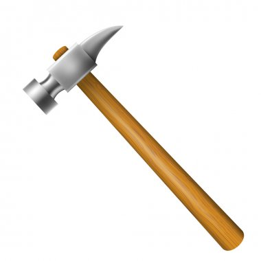 Hammer with wooden hilt isolated on a white background. Vector i