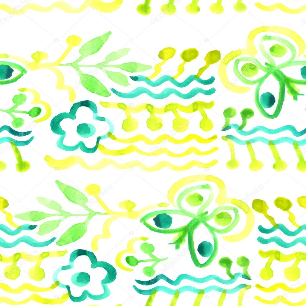 Vector watercolor pattern. Abstract floral background. Seamless