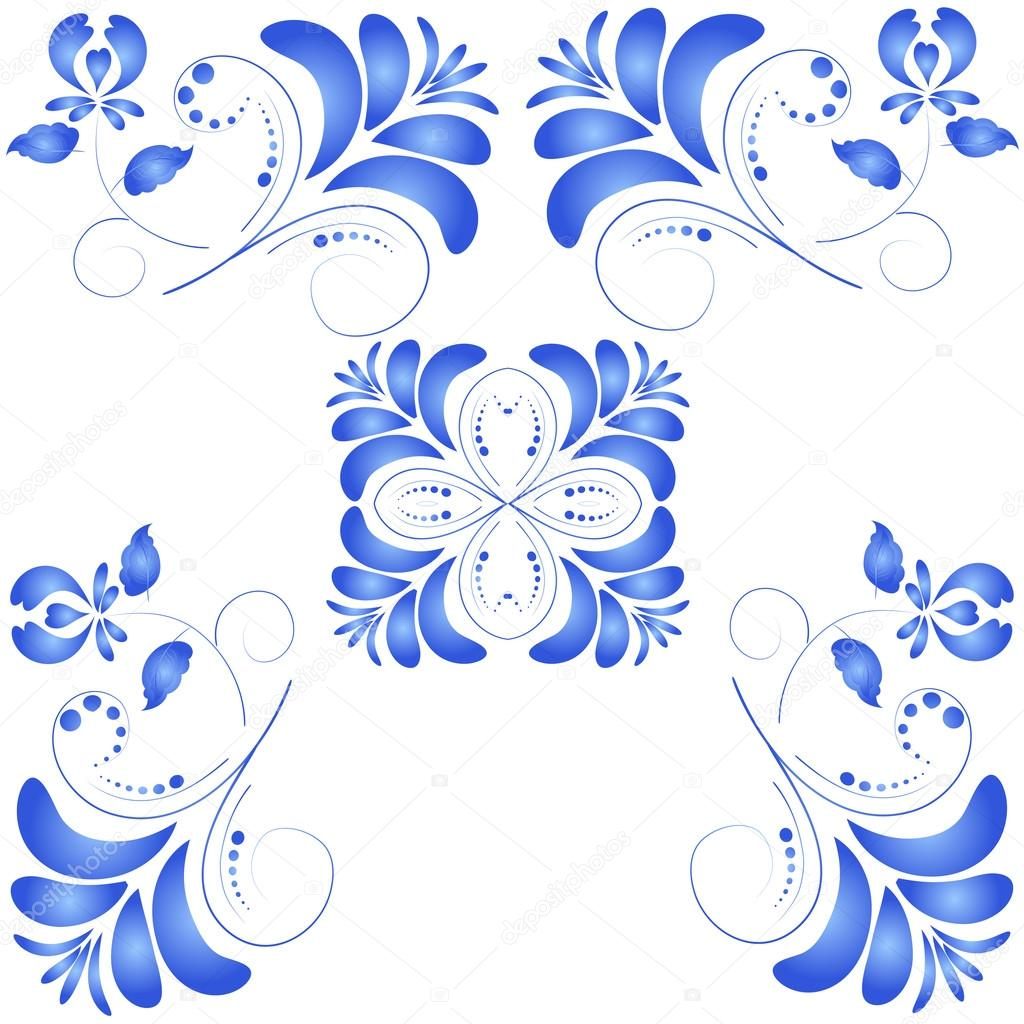 Seamless texture with blue flowers in Gzhel style. Vector illust