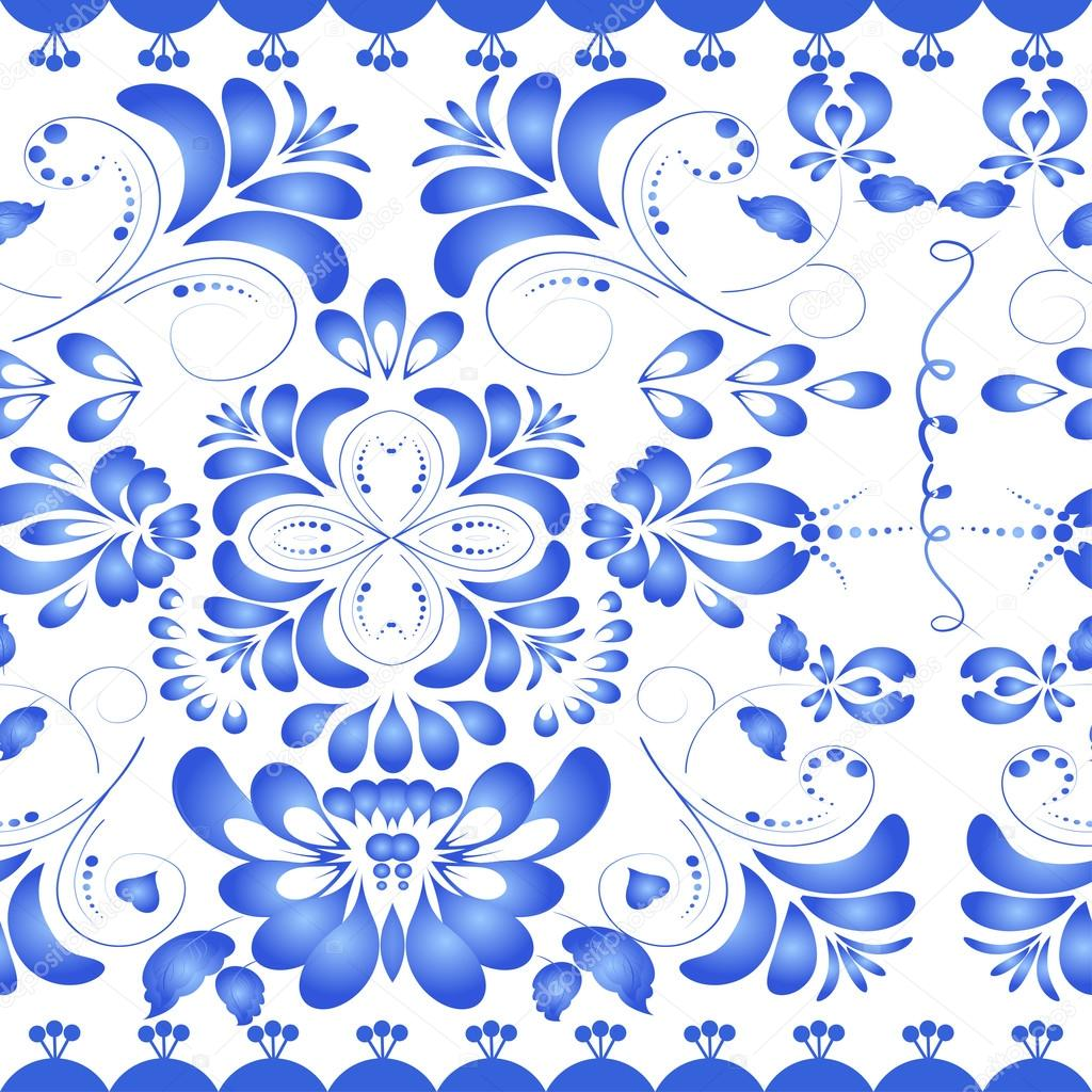 Seamless texture with blue floral ornament. Gzhel style. Vector