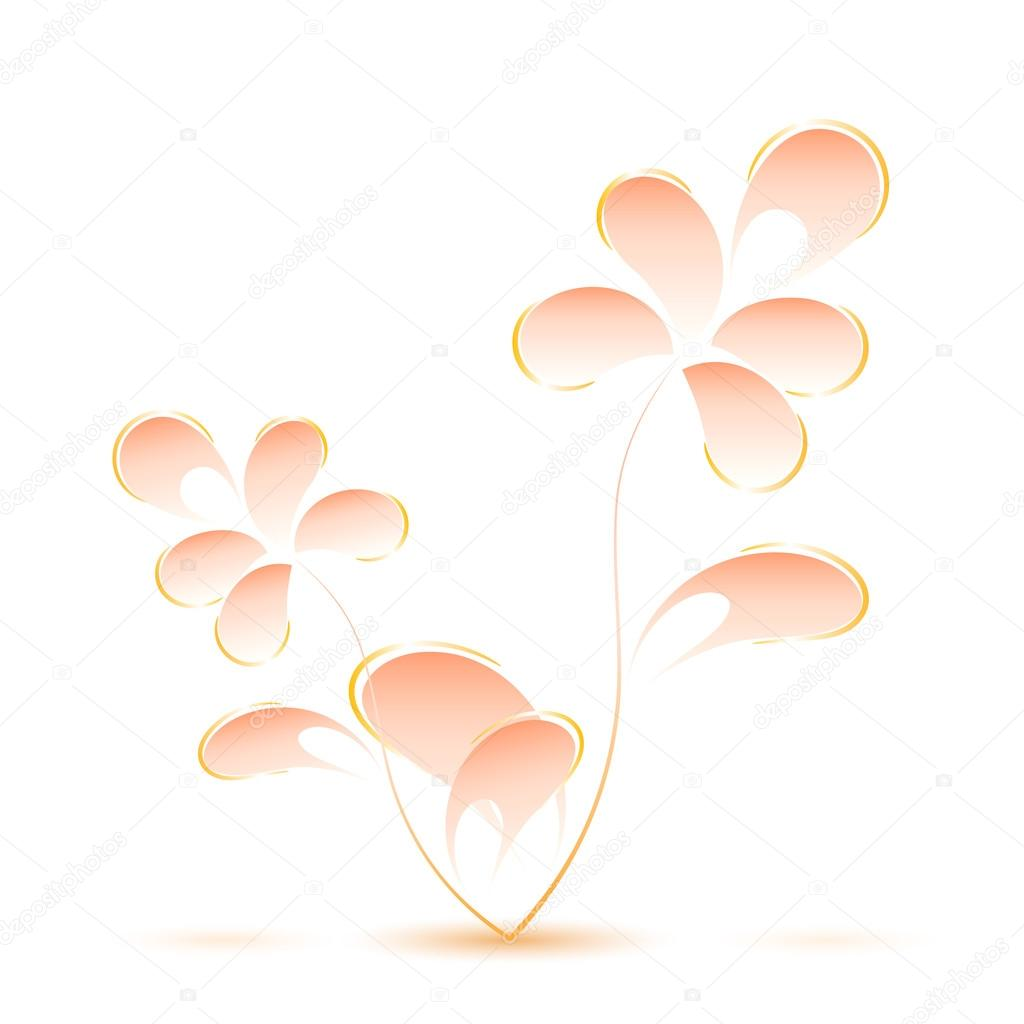 Pink flower isolated on a white background in Gzhel style. Vecto