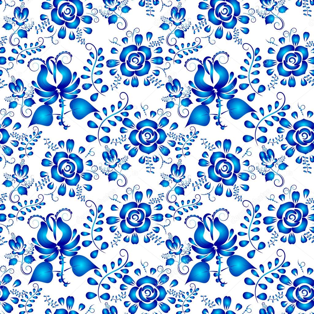 Blue seamless pattern of flowers in Gzhel style on a white backg