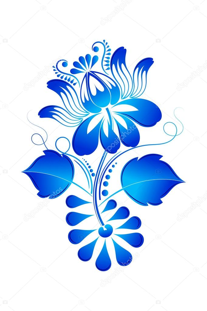 Isolated design element floral ornament style Gzhel. Vector illu