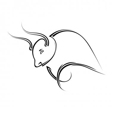 Single black silhouette of  a horned bull on a white background.