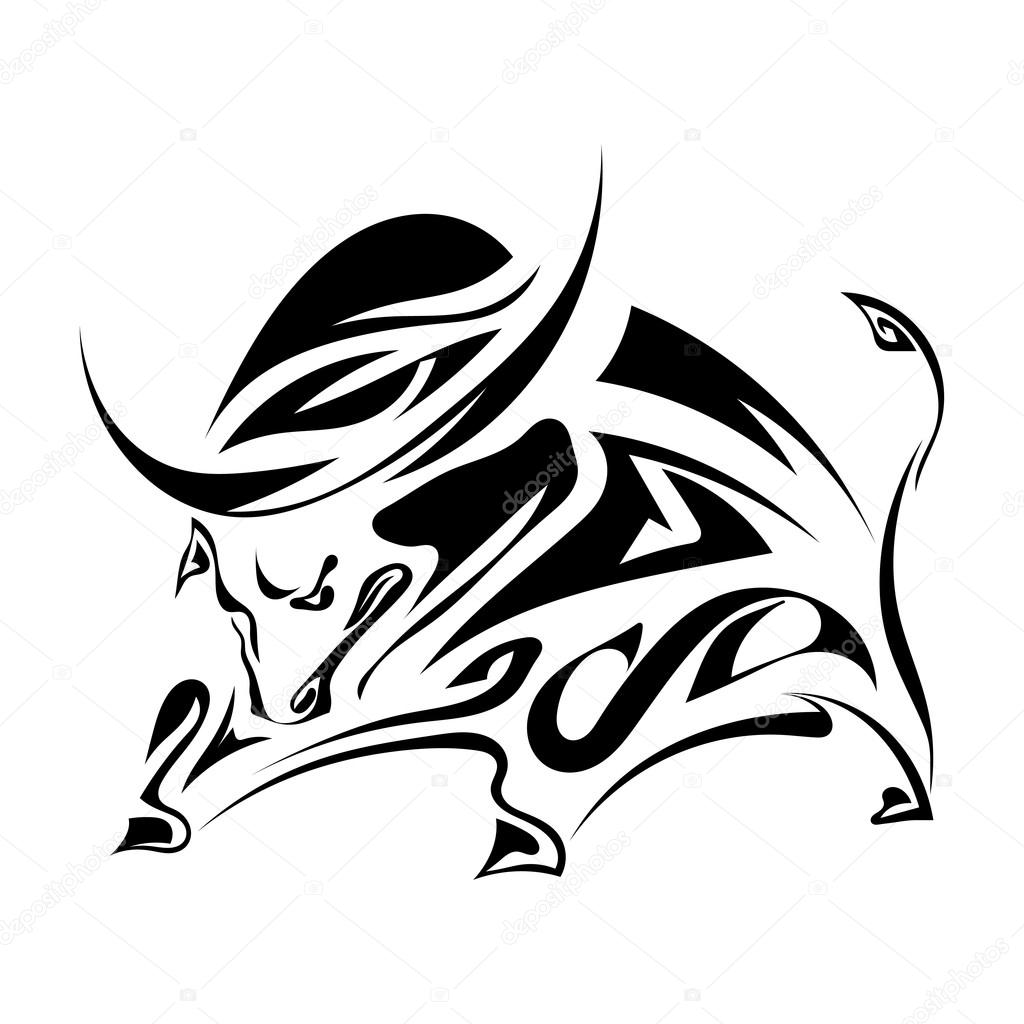 Single black silhouette of  a horned, angry bull on a white back