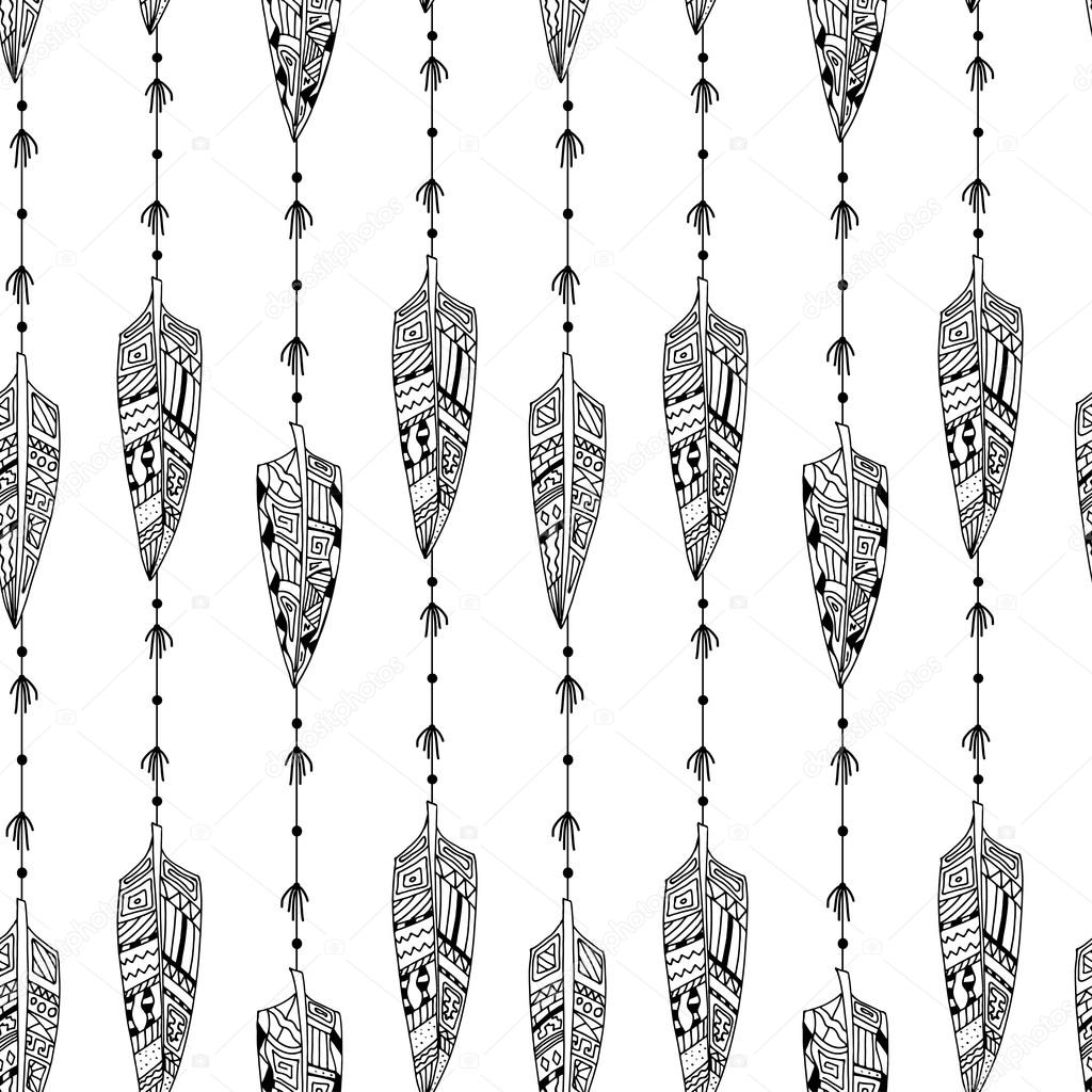 Black and white seamless texture with ornaments from bird feathe