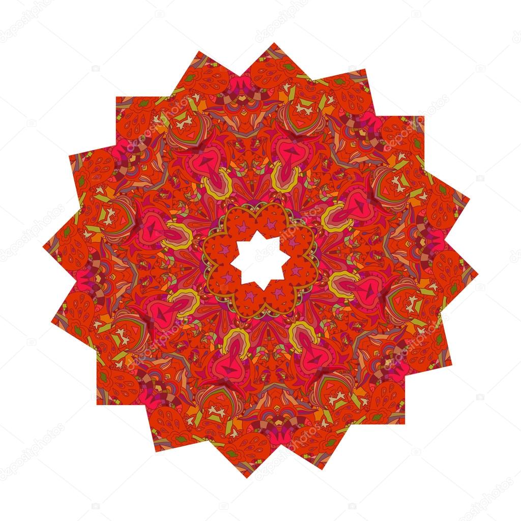 Mandala with floral print isolated on a white background. Vector