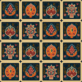 Vintage zökkenőmentes etnikai minta a squ trópusi virág