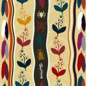 Seamless ethnic pattern with flowers and feathers. Tribal paint