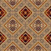 Colorful seamless background with floral patterns and beige rhom