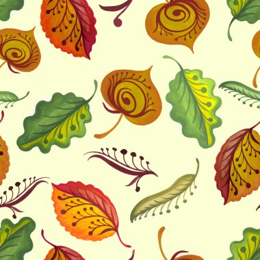 Bright seamless texture with colorful autumn leaves and flowers.
