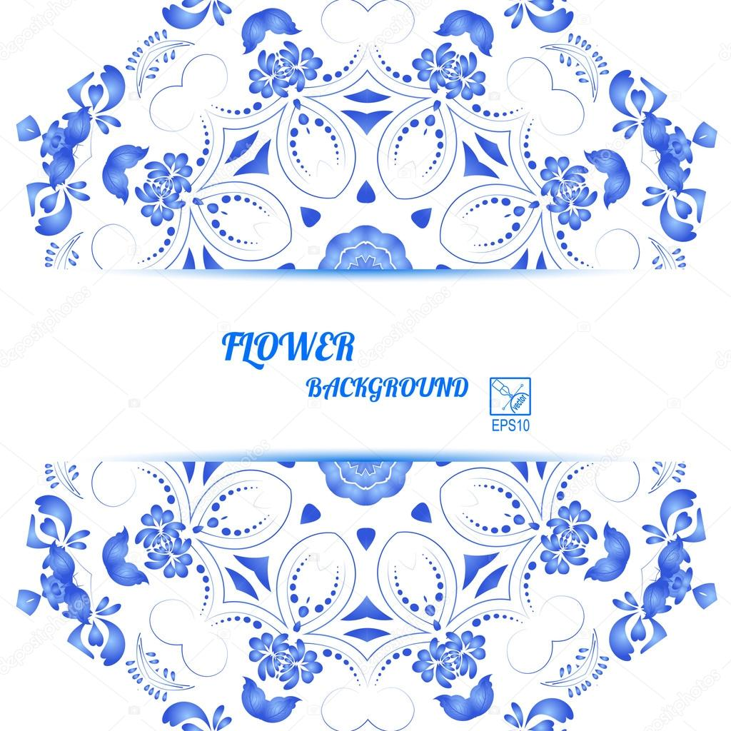 Banner with blue floral ornament in Gzhel style. Vector illustra