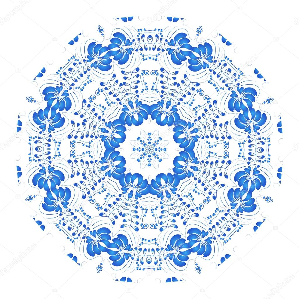 Round blue floral ornament in the Russian traditional style isol