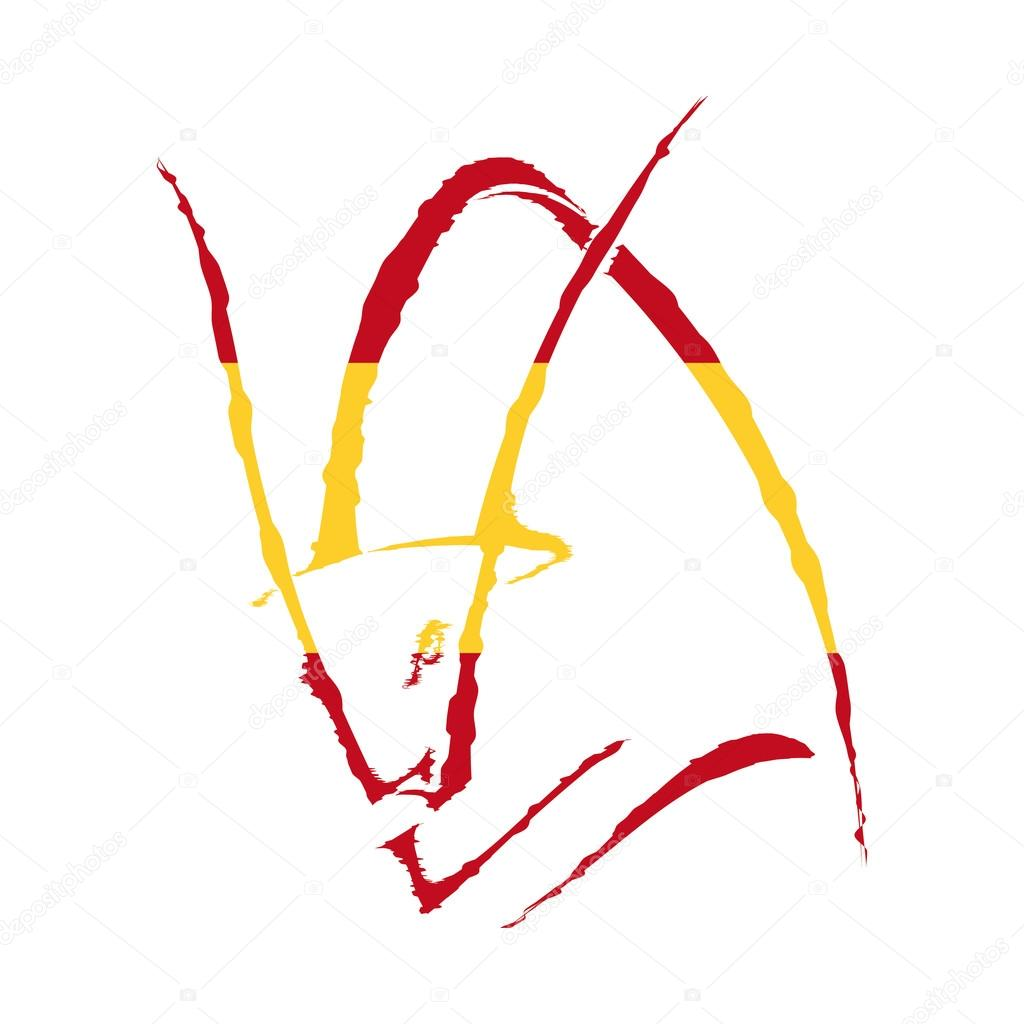 Sketch Silhouette Colors Of The Flag Of Spain Profile Of A Bull