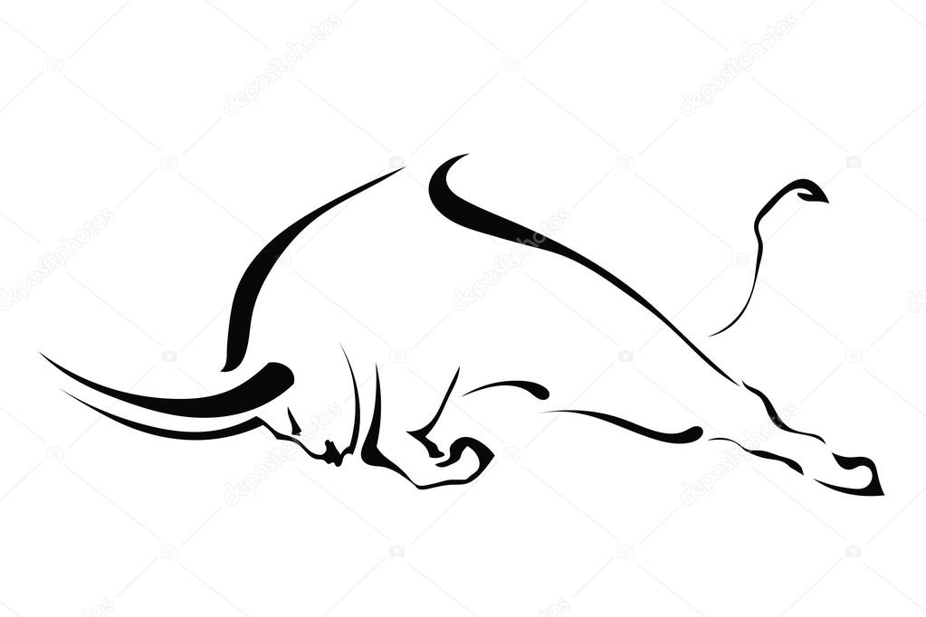 Silhouette of a bull in a fight in the profile on a white backgr