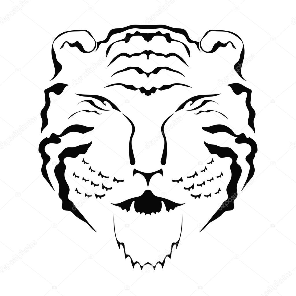 Silhouette of tiger head front view isolated on white background