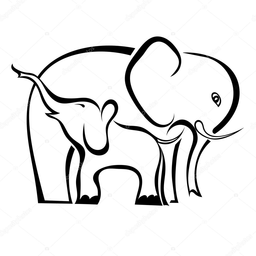 a pair of elephants mother and baby isolated on white background