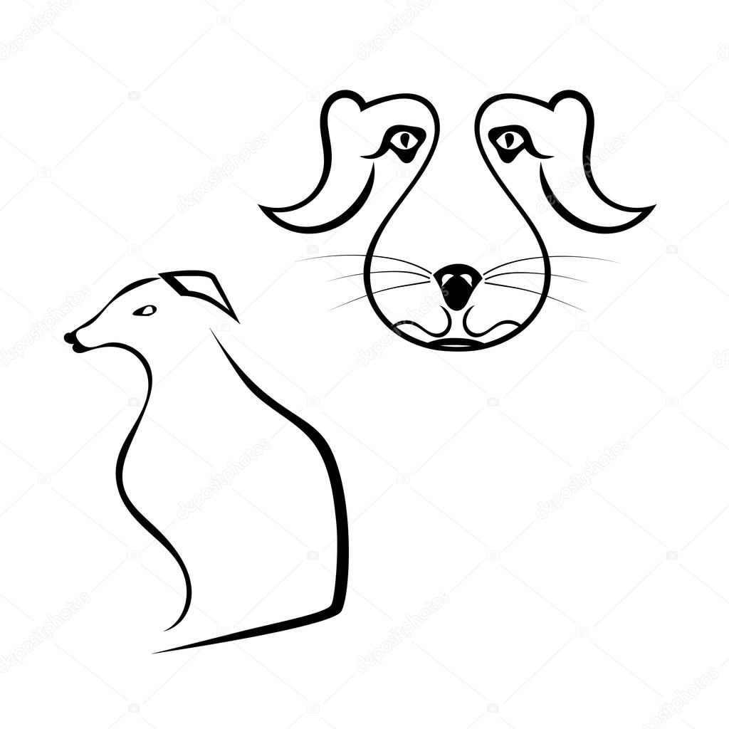 Set of dogs silhouette isolated on white background. Vector illu