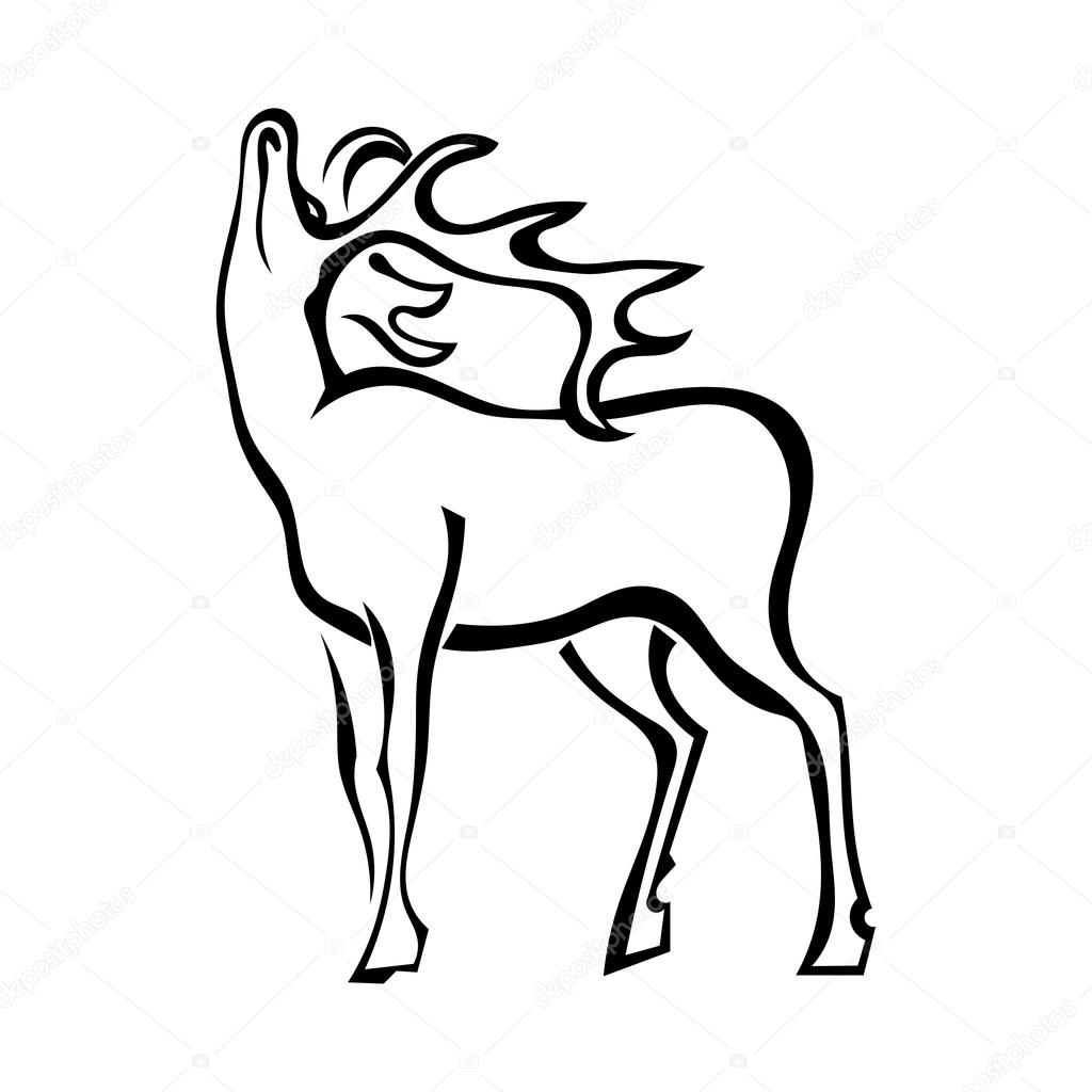 Silhouette of deer with large antlers isolated on white backgrou