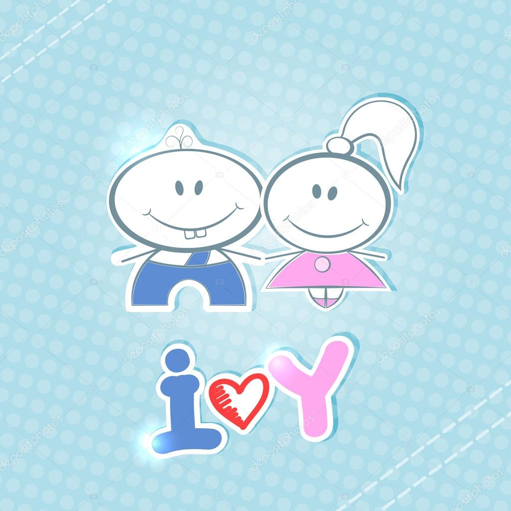 "little boy and girl on a blue background. handwritten text ""i lo"
