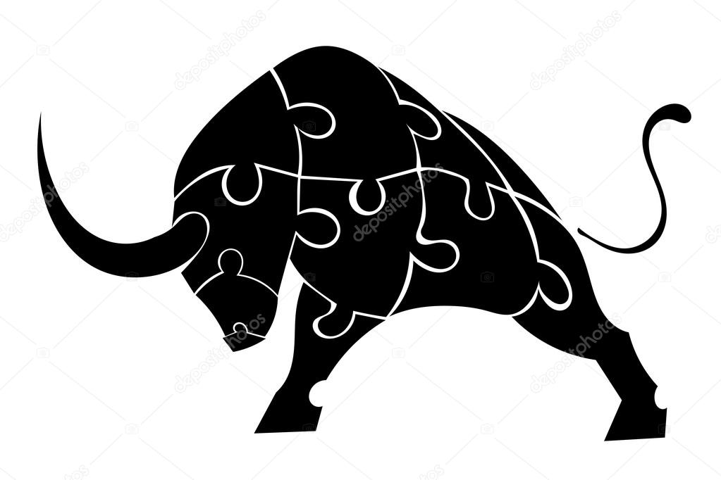 Bull of the pieces of the puzzle isolated background. Vector ill