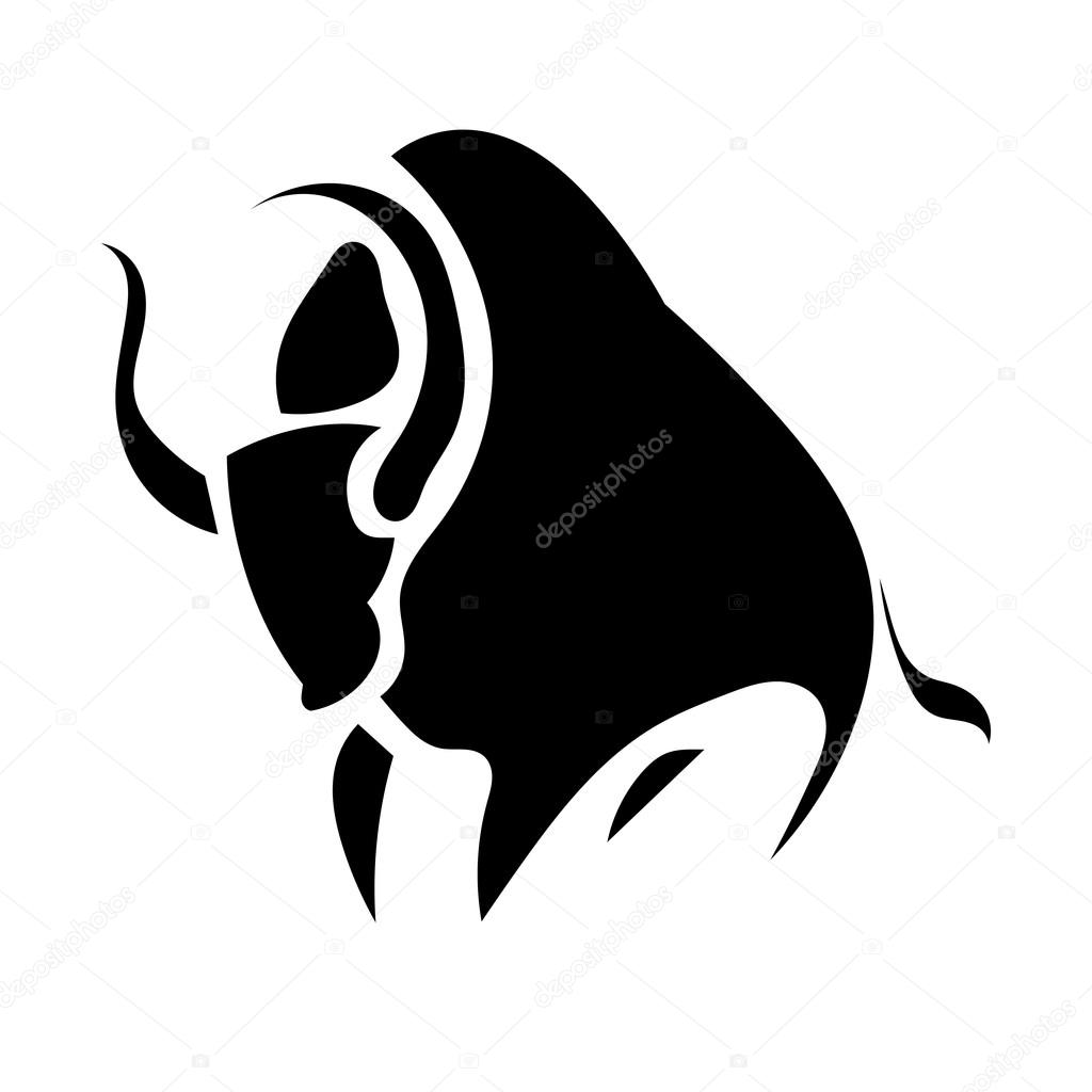 Black silhouette simple of a bull isolated background. Vector il