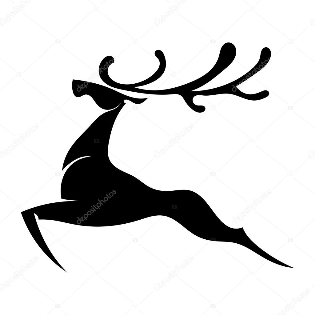 The black silhouette of a deer jumping with big horns. Isolated.
